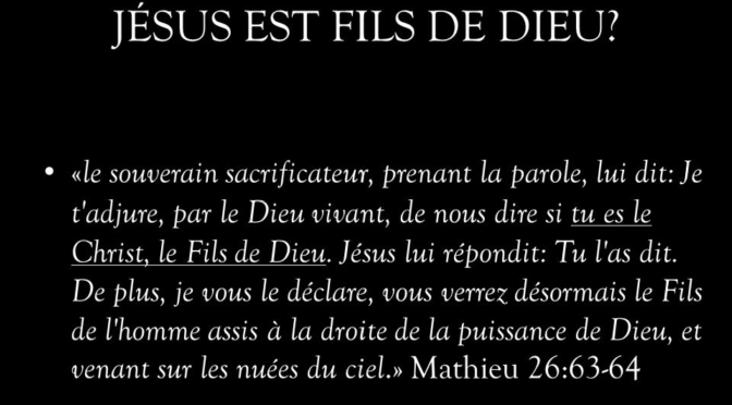 Un autre Jésus que le Fils de Dieu n'est pas biblique.